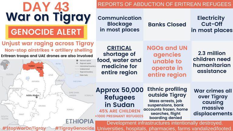 Day 43 of war on Tigray: ethnic profiling, humanitarian aid, Sudan