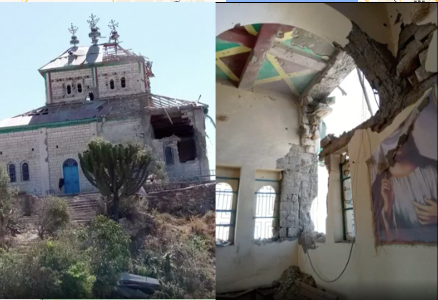 A footage of a destruction of a Tigrayan church by the invading forces in Zalambessa