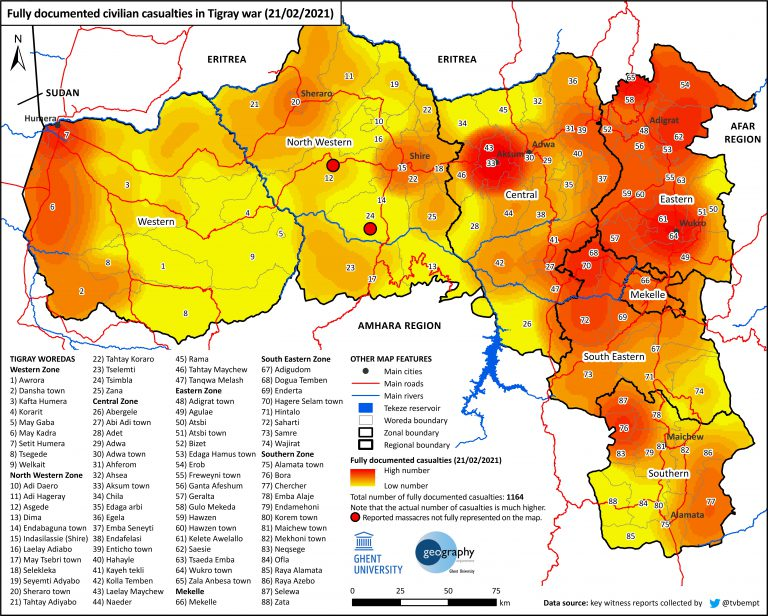 Map of verified  Victims of the war on Tigray